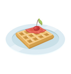wafers with cherry syrup on a platethe dark vector image