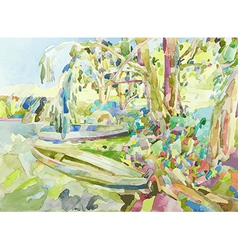 Watercolor painting of summer landscape vector