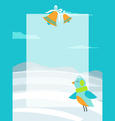 winter theme colorful postcard with bright bird vector image
