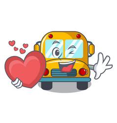 With heart school bus mascot cartoon vector