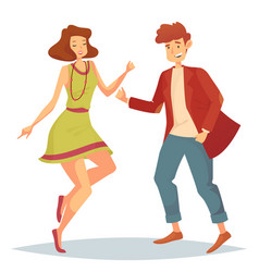 Woman jumping at dancefloor and man dancing vector