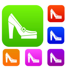 Women shoes on platform set collection vector