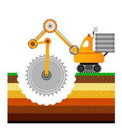 Yellow bulldozer is digging the earth mining vector
