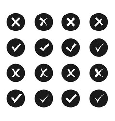 check and cross icon set vector image