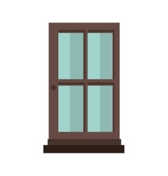 colorful silhouette with door of wood and glass vector image