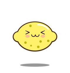 Cute lemon fruit cartoon character icon kawaii vector