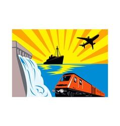 diesel train locomotive retro vector image vector image