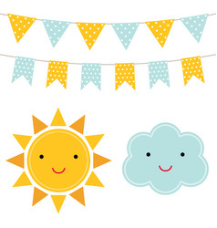 sun and cloud cartoons vector image vector image