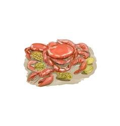 Cajun Seafood Watercolor vector image