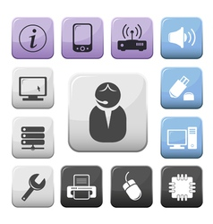 Computer and internet support buttons set vector image vector image