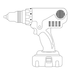 Electric drill contour vector image
