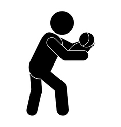 man carrying baby icon vector image