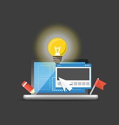 Modern laptop with light bulb Development concept vector image