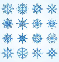 set of snowflakesDecorative snowflake winter set vector image