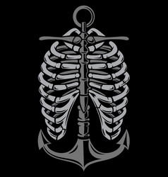anchor ribcage vector image