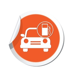 car with gas station icon orange label2 vector image vector image