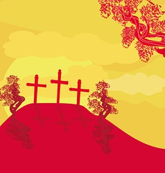 crosses on a hill at sunset background concept vector image