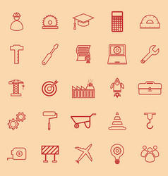 engineering line color icons on orange background vector image vector image