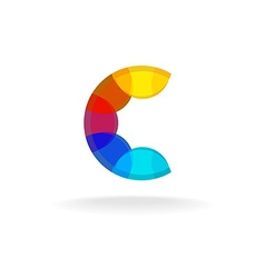 Letter C colorful overlay rainbow colors logo vector image