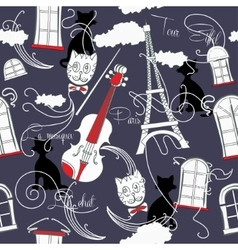 Seamless pattern with Paris and music vector image vector image