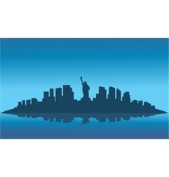 silhouette of liberty on the island vector image vector image