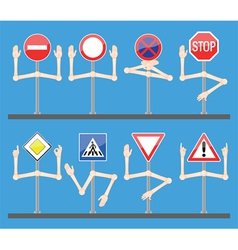 traffic signs with hands vector image vector image