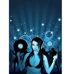 girl dj wallpaper vector image vector image
