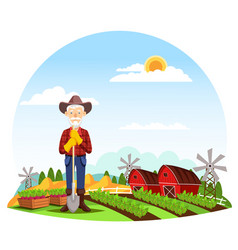 man or grandfather farmer at farm vector image