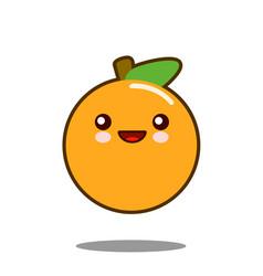 orange fruit cartoon character icon kawaii flat vector image