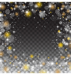Snowflakes frame snowfall Lights on transparent vector image