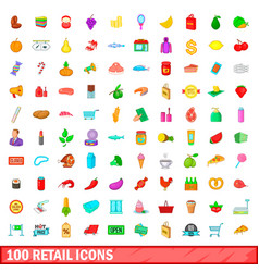 100 retail icons set cartoon style vector