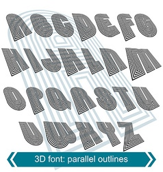 3d retro typeset with lines in rotation uppercase vector image