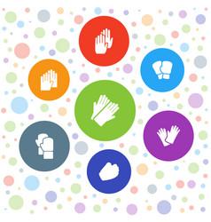 7 glove icons vector