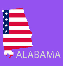 Alabama state of america with map flag print vector