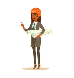Architect woman in orange safety helmet standing vector