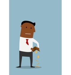 Bankrupt businessman with empty wallet vector image