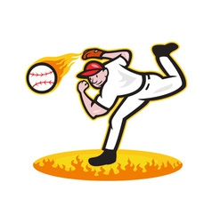 Baseball Pitcher Throwing Ball On Fire vector image