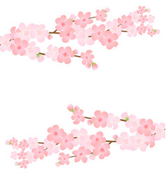 Bloom branch with pink flowers buds petals flying vector