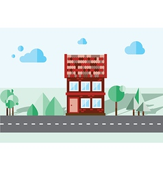 brick house on a blue background vector image