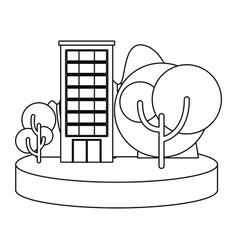 building in the landscape outline vector image