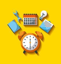 Business clock alarm time tool work efficiency vector
