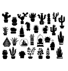 cactuses silhouette set cactuses aloe and vector image