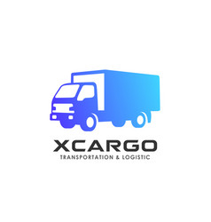 cargo delivery services logo design truck icon vector image