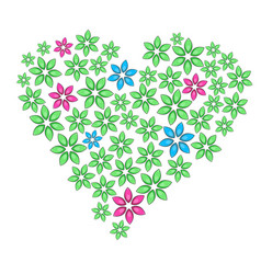 cartoon floral heart with green leaves and vector image