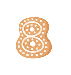 cartoon ginger bread cookie number 8 hand drawn vector image