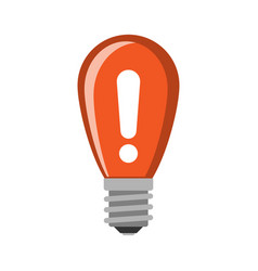 Cartoon lamp red light bulb design flat vector