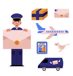 Cartoon postman mailman character set vector