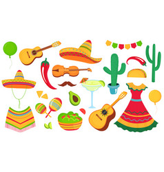 Cinco de mayo a large set decorative elements vector