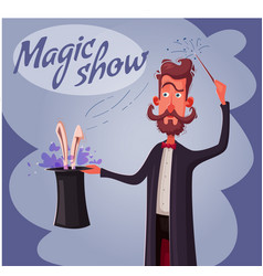 circus poster with magician vector image