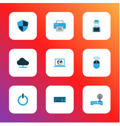 computer icons colored set with printer internet vector image